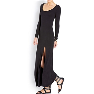 Black Long Sleeve Open Back High-Slit Dress