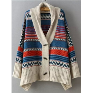Multicolor Long Sleeve Tribal Print Sweater Coat
