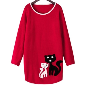 Cat Pattern Red Sweater