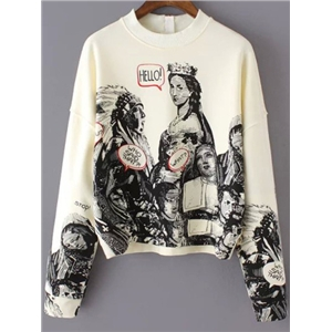 Beige Long Sleeve Statue Patterns Print Crop Sweatshirt