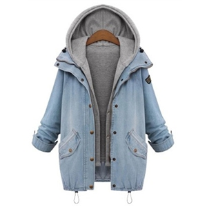 Hooded Drawstring Pockets Coat