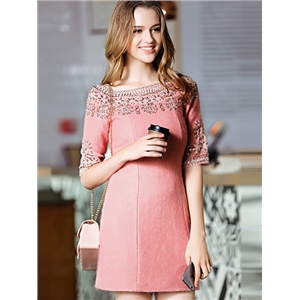 Pink Round Neck Half Sleeve Beading Dress