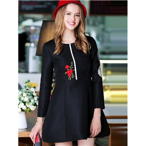 Black Round Neck Long Sleeve Embroidered Dress