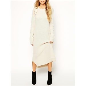 Long Sleeve Hollow Side Slit High Low Dress