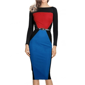 Color-block Long Sleeve Pencil Dress