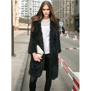 Black Casual Lapel Faux Fur Coat