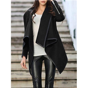 Turtleneck Zipper Asymmetrical Black Coat