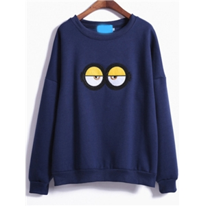 Blue Cartoon Eyes Print Loose Sweatshirt