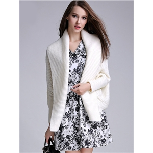White Batwing Sleeve Knit Cardigan
