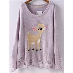 Light Purple Round Neck Deer Pattern Ripped Sweater