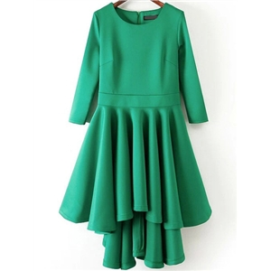 Green Round Neck High Low Flare Dress
