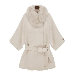 White Fur Collar Half Sleeve Belt Wool Cape Coat
