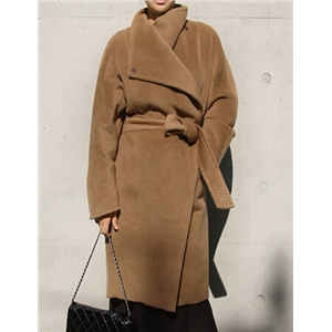 Khaki Lapel Belt Long Coat
