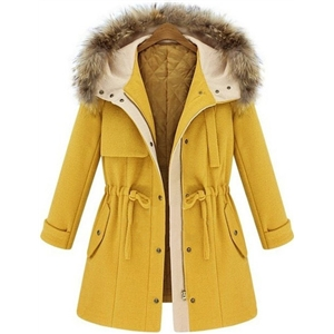 Yellow Hooded Drawstring Pockets Coat