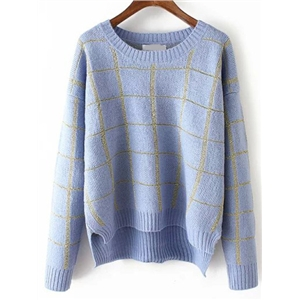 Blue Round Neck Plaid Crop Sweater