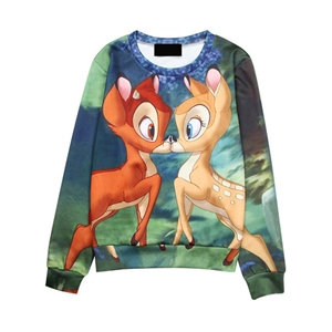 Color Deer Print Loose Sweatshirt