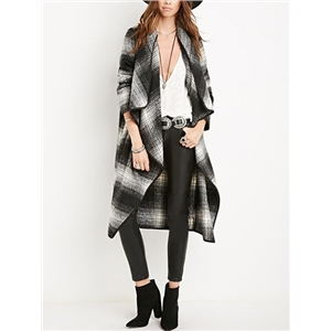 Black And White Plaid Waterfall Coat