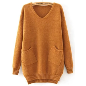 Khaki V Neck Pockets Loose Sweater