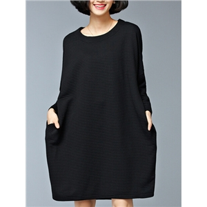 Black Pocket Oversized Thicken Dress