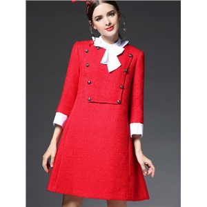 Red Round Neck Length Sleeve Bow-Tie Pockets Dress