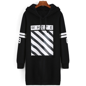 Black Hooded Striped Loose Sweatshirt