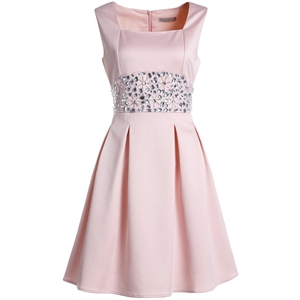 Pink Boat Neck Sleeveless Beading Dress