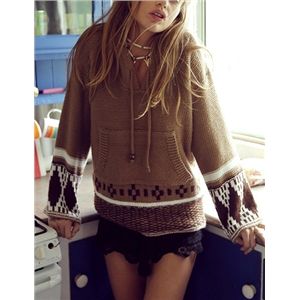 Coffee Hooded Geometric Print Sweater Coat