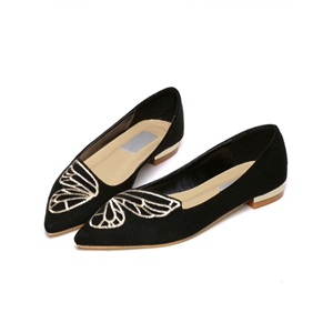 Black Point Toe Embroidery Suede Flats
