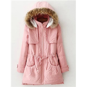 Pink Faux Fur Hooded Drawstring Waist Coat