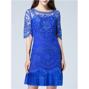 Blue Half Sleeve Contrast Gauze Embroidered Two Pieces Dress