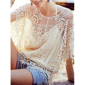 Beige Crochet Beach Tassel Blouse