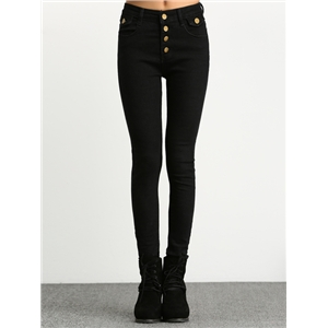 Single Breasted Denim Skinny Pant