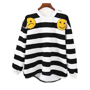 High Low Dropped Shoulder Seam Striped Smiling Face Embroidered White Sweatshirt