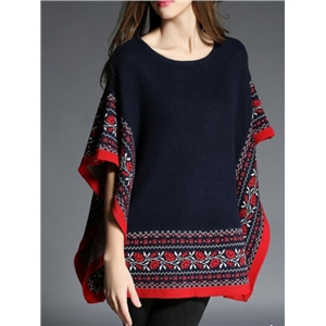 Black Red Tribal Print Cape Sweater