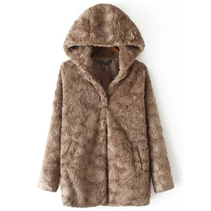 Brown Hooded Long Sleeve Faux Fur Coat
