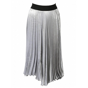 Silver Contrast High Waist Asymmetric Pleated Skirt