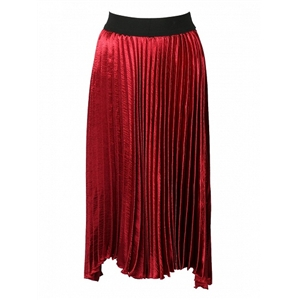 Red Contrast High Waist Asymmetric Pleated Skirt