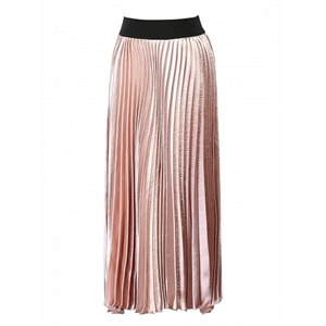 Pink Contrast High Waist Asymmetric Pleated Skirt
