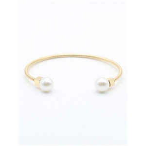 Golden Faux Pearl Embellishment Twisted Bangle Bracelet