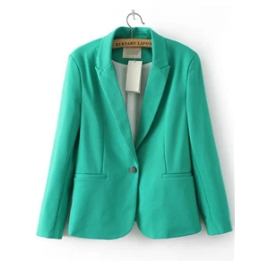 Green Lapel Single Button Blazer