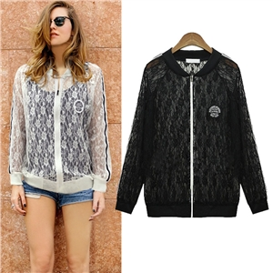 Lace Bomber Jacket With Zipper