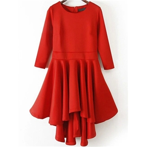Red Round Neck High Low Flare Dress