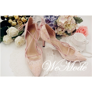 Wemode Pointed Toe Strap Pumps Pink Lace leather