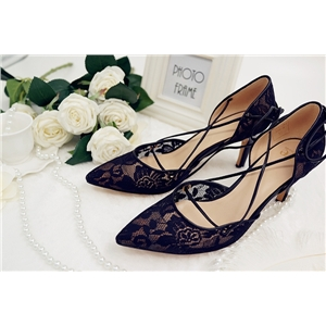 Wemode Pointed Toe Tie Pumps Black Lace leather
