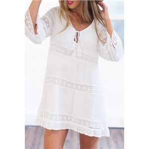 Tie Neck 3/4 Length Sleeve White Short Dress