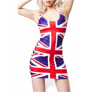 UK Flag Print Bodycon Tank Dress