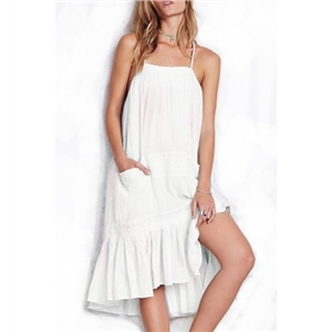 White Straps Pockets Ruffle Hem Chiffon Swing Dress