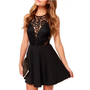 Black Lace Hollow Sleeveless Top Fit&Flare Dress