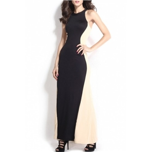 Sexy Color Block Round Neck Sleeveless Maxi Dress