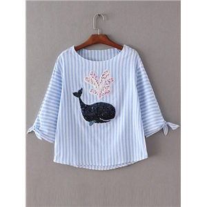 Multicolor Sequined Whale Patch Stripe Blouse